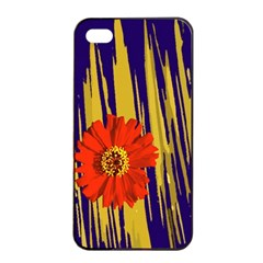 Red Flower Apple iPhone 4/4s Seamless Case (Black)