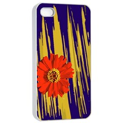 Red Flower Apple Iphone 4/4s Seamless Case (white)