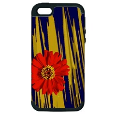 Red Flower Apple iPhone 5 Hardshell Case (PC+Silicone)