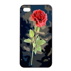 Long Stem Rose Apple iPhone 4/4s Seamless Case (Black)