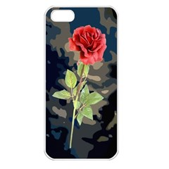 Long Stem Rose Apple iPhone 5 Seamless Case (White)