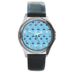 Summer Sailing Round Leather Watch (Silver Rim)