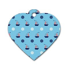 Summer Sailing Dog Tag Heart (one Sided)