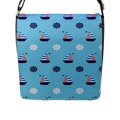 Summer Sailing Flap Closure Messenger Bag (Large)