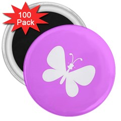 Butterfly 3  Button Magnet (100 pack)