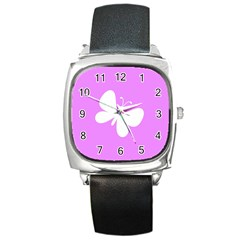 Butterfly Square Leather Watch