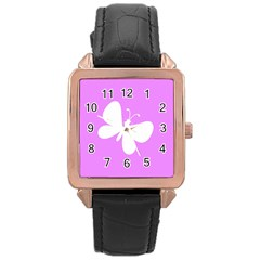 Butterfly Rose Gold Leather Watch