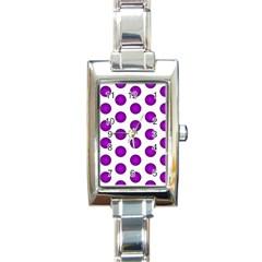 Purple And White Polka Dots Rectangular Italian Charm Watch