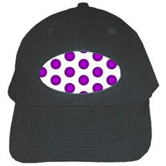 Purple And White Polka Dots Black Baseball Cap