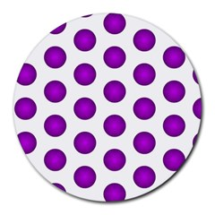 Purple And White Polka Dots 8  Mouse Pad (round)