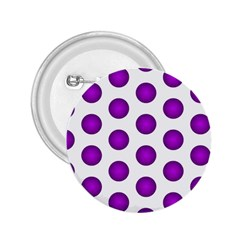 Purple And White Polka Dots 2.25  Button