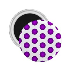 Purple And White Polka Dots 2.25  Button Magnet