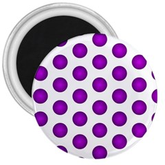 Purple And White Polka Dots 3  Button Magnet