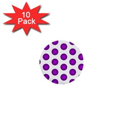 Purple And White Polka Dots 1  Mini Button (10 pack)