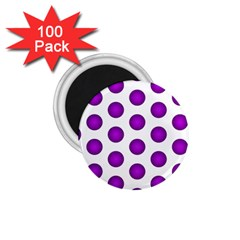 Purple And White Polka Dots 1.75  Button Magnet (100 pack)