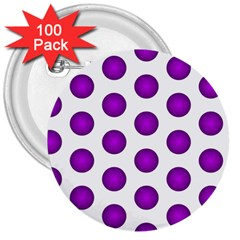 Purple And White Polka Dots 3  Button (100 pack)