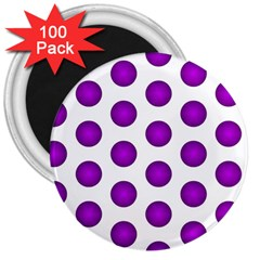 Purple And White Polka Dots 3  Button Magnet (100 pack)