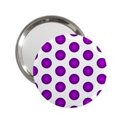 Purple And White Polka Dots Handbag Mirror (2.25 )