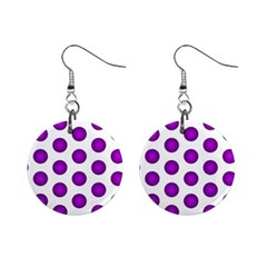 Purple And White Polka Dots Mini Button Earrings