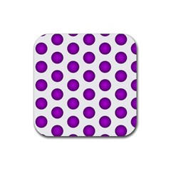 Purple And White Polka Dots Drink Coaster (Square)