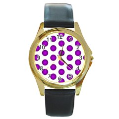 Purple And White Polka Dots Round Leather Watch (Gold Rim)