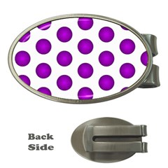 Purple And White Polka Dots Money Clip (Oval)