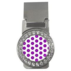 Purple And White Polka Dots Money Clip (CZ)