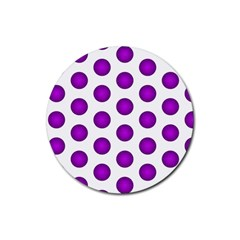 Purple And White Polka Dots Drink Coasters 4 Pack (Round)