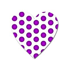 Purple And White Polka Dots Magnet (heart)