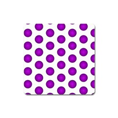 Purple And White Polka Dots Magnet (Square)
