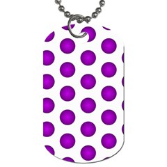 Purple And White Polka Dots Dog Tag (One Sided)