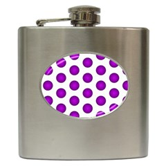 Purple And White Polka Dots Hip Flask