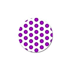 Purple And White Polka Dots Golf Ball Marker 10 Pack