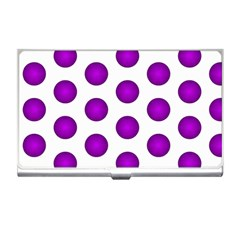 Purple And White Polka Dots Business Card Holder