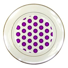 Purple And White Polka Dots Porcelain Display Plate