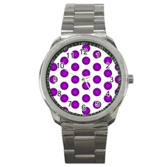 Purple And White Polka Dots Sport Metal Watch