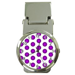 Purple And White Polka Dots Money Clip With Watch