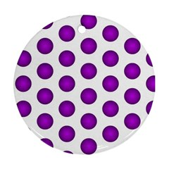 Purple And White Polka Dots Round Ornament (two Sides)