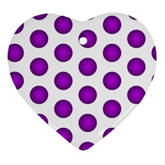Purple And White Polka Dots Heart Ornament (Two Sides)