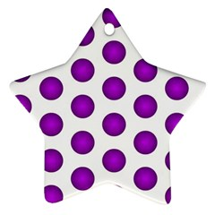 Purple And White Polka Dots Star Ornament (Two Sides)