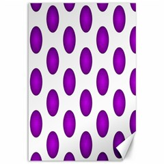 Purple And White Polka Dots Canvas 12  x 18  (Unframed)