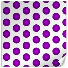 Purple And White Polka Dots Canvas 20  x 20  (Unframed)