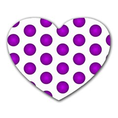 Purple And White Polka Dots Mouse Pad (Heart)