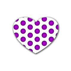 Purple And White Polka Dots Drink Coasters 4 Pack (heart)