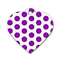 Purple And White Polka Dots Dog Tag Heart (Two Sided)