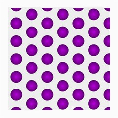 Purple And White Polka Dots Glasses Cloth (Medium, Two Sided)