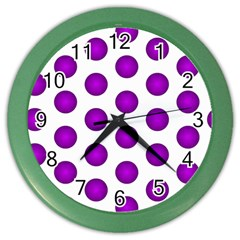 Purple And White Polka Dots Wall Clock (Color)