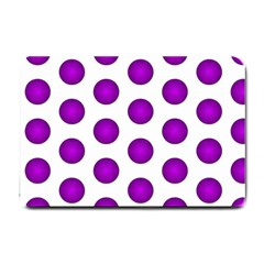Purple And White Polka Dots Small Door Mat