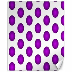 Purple And White Polka Dots Canvas 11  x 14  (Unframed)