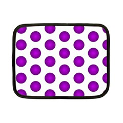 Purple And White Polka Dots Netbook Sleeve (Small)